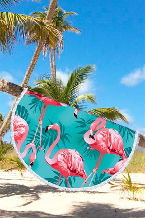 Круглое пляжное полотенце Фламинго - фото 7599