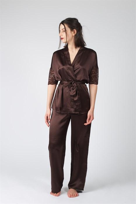 Классическая атласная пижама - фото 8636