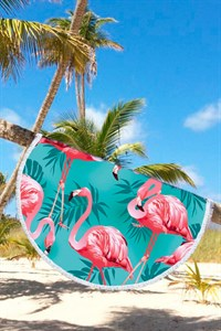Круглое пляжное полотенце Фламинго
